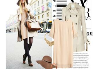 The beauty of women in grey Trench coat