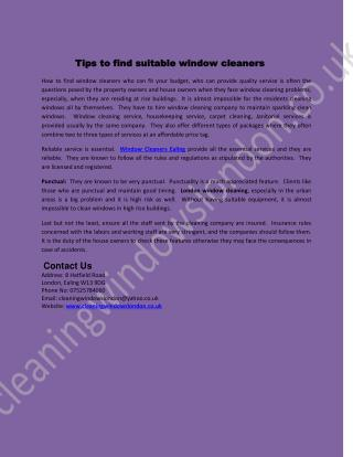 Tips to find suitable window cleaners