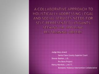 A Collaborative Approach to holistically addressing legal and social services needs for self represented litigants seeki