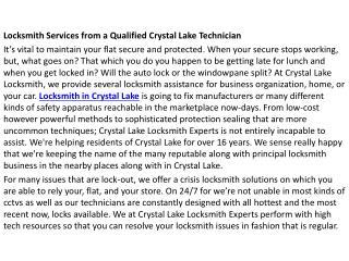 Locksmith Crystal Lake IL
