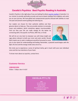 Cecelia�s Psychics:  Best Psychic Reading In Australia