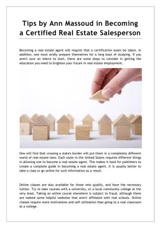 Tips by Ann Massoud in Becoming a Certified Real Estate Salesperson