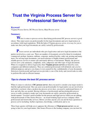 Trust the Virginia Process Server for Professional Service