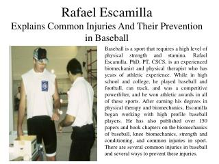 Rafael Escamilla explains 3 Common Injuries and Their Preventions in Baseball