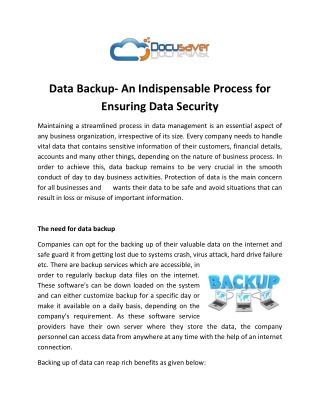 Data Backup- An Indispensable Process for Ensuring Data Security