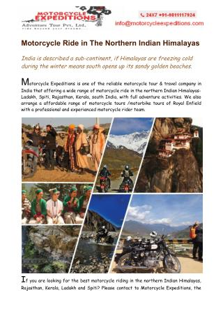 Motorcycle Ride in The Northern Indian Himalayas