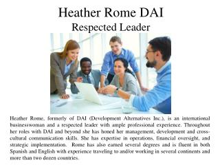 Heather Rome DAI - A Respected Leader