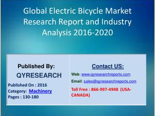 Global Electric Bicycle Industry Report 2016 Market  Forecasts, Research and  Analysis