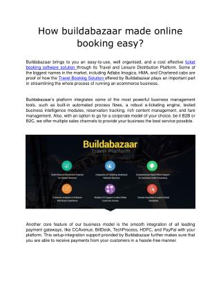 How buildabazaar made online booking easy?