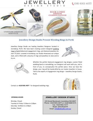 Jewellery Design Studio Present Weeding Rings In Perth