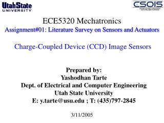 ECE5320 Mechatronics Assignment01: Literature Survey on Sensors and Actuators    Charge-Coupled Device CCD Image Sensors