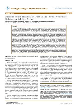 Impact of Biofield Treatment on Chemical and Thermal Properties of Cellulose and Cellulose Acetate