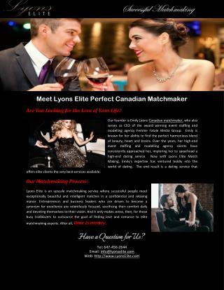 Meet Lyons Elite Perfect Canadian Matchmaker