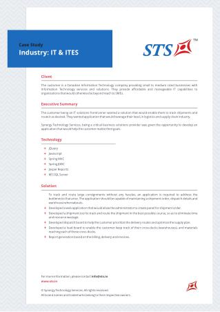 Case Study - Logistics And Supply Chain Application For IT&ITeS