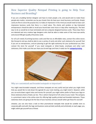How Superior Quality Notepad Printing is going to Help Your Business and Branding?