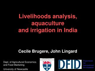Livelihoods analysis, aquaculture  and irrigation in India