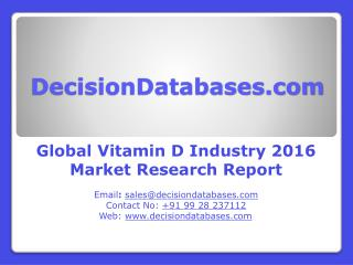 Global Vitamin D Industry- Size, Share and Market Forecasts 2021