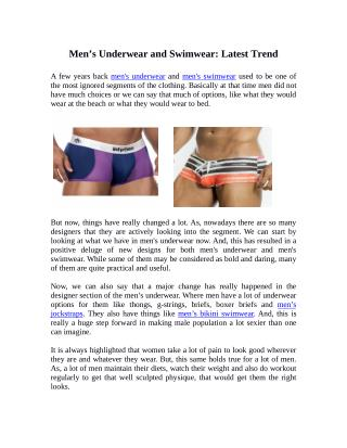 Men's Underwear and Swimwear: Latest Trend