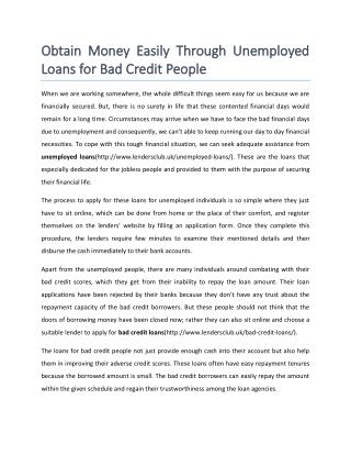Unemployed Loans for Bad Credit People