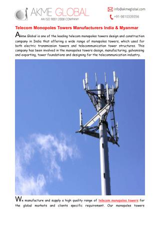 Telecom Monopoles Towers Manufacturers India