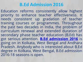 B.Ed Admission 2016
