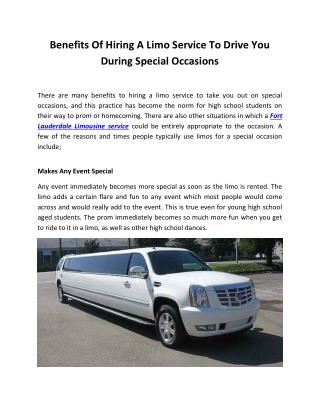 Benefits Of Hiring A Limo Service To Drive You During Special Occasions