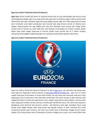 Agen Euro Online Terbaik Dan Resmi Di Indonesia