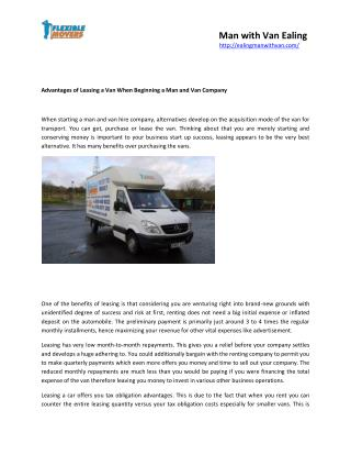 Advantages of Leasing a Van When Beginning a Man and Van Company