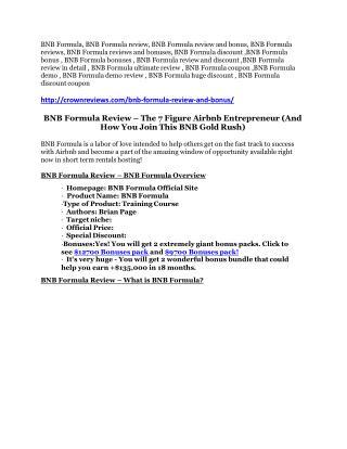 BNB Formula preview detail