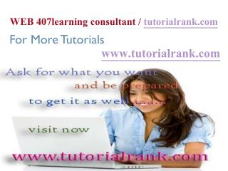 WEB 407 Learning Consultant / tutorialrank.com