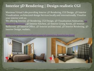 Interior 3D Rendering | Design realistic CGI