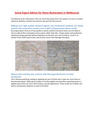 Some Expert Advice for Stone Restoration in Melbourne