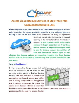 Access Cloud Backup Services to Stay Free From Unprecedented Data Loss
