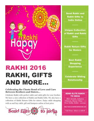 Rakhi and Rakhi Gifts 2016