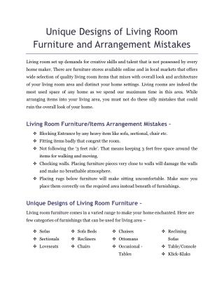 Unique Designs of Living Room Furniture and Arrangement Mistakes
