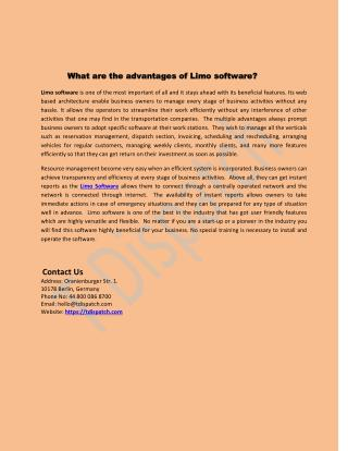 What are the advantages of limo software