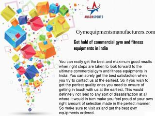 Get hold of commercial gym and fitness equipments in India