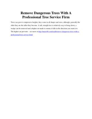 Remove Dangerous Trees With A Professional Tree Service Firm