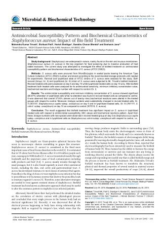 Antimicrobial Susceptibility Pattern and Biochemical Characteristics of Staphylococcus aureus: Impact of Bio field Treat