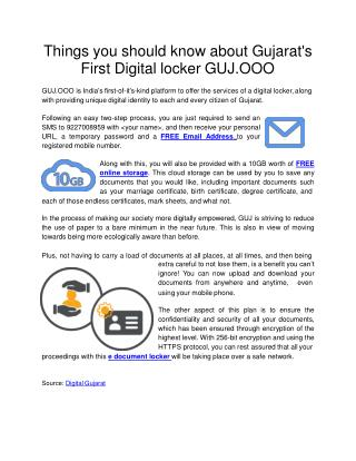Things you should know about Gujarat's First Digital locker GUJ.OOO