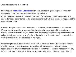 Locksmith Plainfield IL