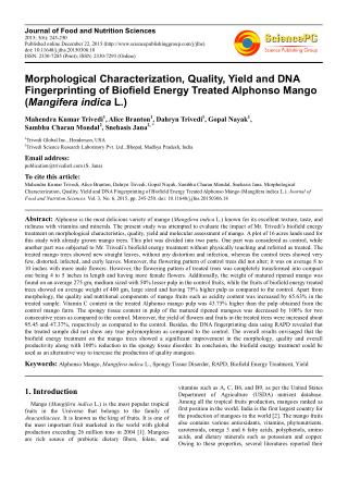 Morphological Characterization, Quality, Yield and DNA Fingerprinting of Biofield Energy Treated Alphonso Mango (Mangife