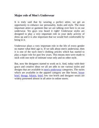 Major role of Men's Underwear