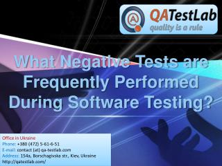 What Negative Tests are Frequently Performed During Software Testing?