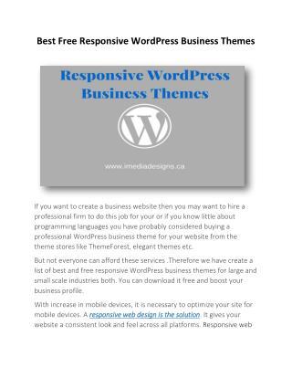 Best Free Responsive WordPress Business Themes