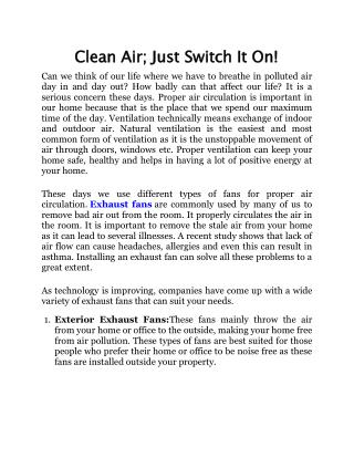 Clean Air; Just Switch It On!