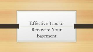 Effective Tips to Renovate Your Basement