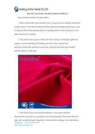 How Do You Choose The Dress Fabrics Of Dress?