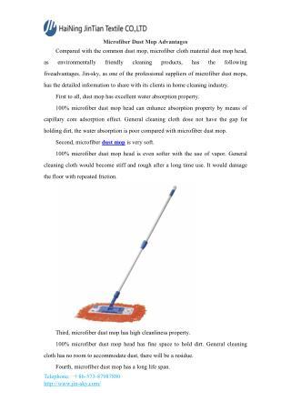 Microfiber Dust Mop Advantages