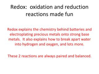 Redox:  oxidation and reduction reactions made fun